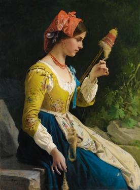 eleuterio-pagliano-italian-1826-1903-la-filatrice - JANAS