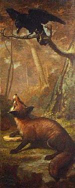 Volpe fiabe - la volpe e il corvo